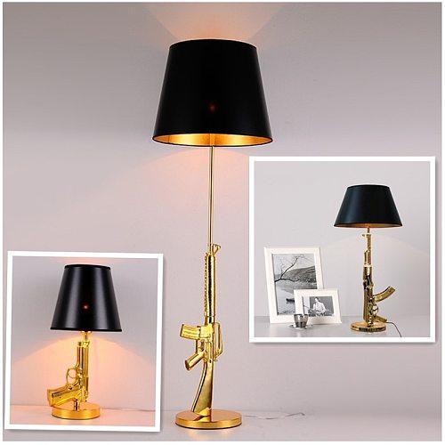 Modern Electroplated Table Lamp AK47 Gun Design Desk Decor Lighting Gold Silver Creative Metal Reading Night Light For Bedside