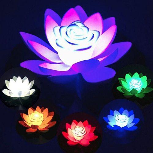 18cm LED Lotus Flower Light Battery Powered Floating Garden Pool Lamp Landscape Decor LED Floating Lotus Light