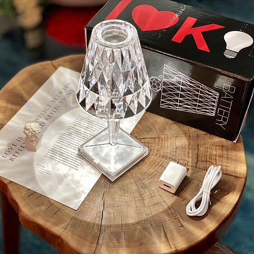 Crystal lamp Italy bedside lamp bedroom night light charging creative LED atmosphere lamp diamond lamp decorative table lamp