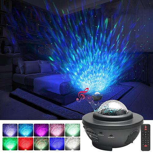 Colorful Projector Lamp LED Star Night Light Blueteeth Voice Control Music Player LED Night Light USB Charging Projection Lamp