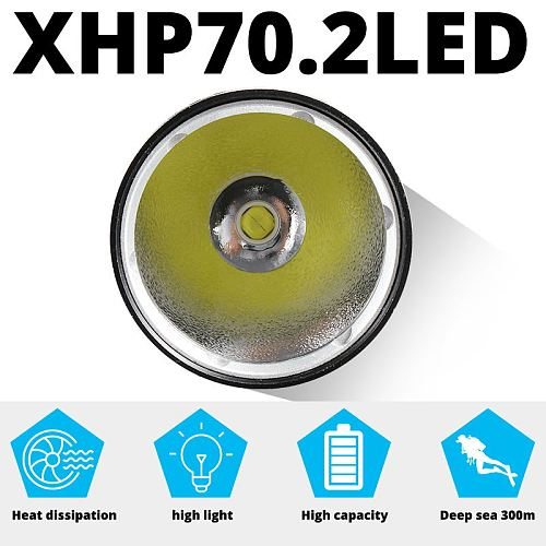 Professional IPX8 Underwater Diving Light XHP70.2 Waterproof Scuba Dive Flashlight Torch Lamp lanterna Power by 26650 for Diver