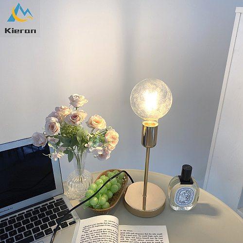 Bedroom Bedside Lamp Golden Modern Simple Model Room Decor Table Lamps College Dorm Study LED Desk Lamp E27 Table Light Fixtures