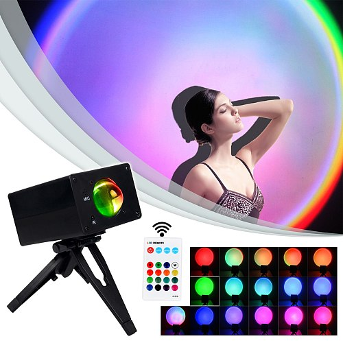 Free Shipping RGB INS Sunset Stage Effect Lighitng For DJ Disco USB Interface Remote Control Music Mode Holiday Party Home Lamp