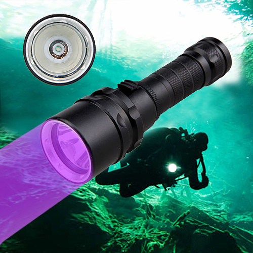 Professional UV Light Underwater Rechargeable 18650 Battery LED XPE Diving Flashlight 100M Torch Scuba 10W 365-395nm Lanterna