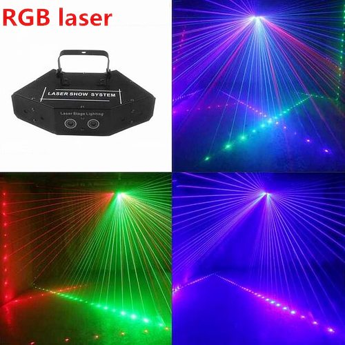 Wireless control RGB Laser 16 image Lines Beam Scans DMX DJ Bar Coffee Xmas Home Party Disco Effect Lighting  System Show