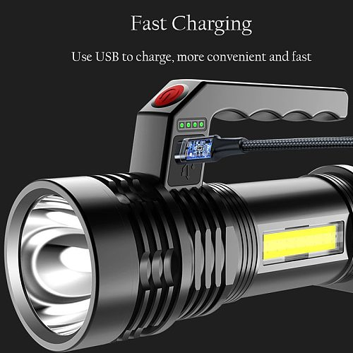 Powerful LED Flashlight Portable LED P500 Torch USB Rechargeable Searchlight Waterproof Spotlight for Fishing Light Lantern