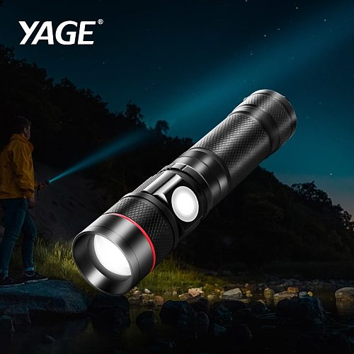 YAGE T6 High Power Flashlight Aluminum Zoomable CREE LED Flashlight Torch Light for 18650 Rechargeable Battery USB 3 Modes