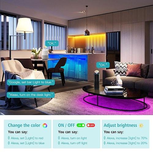WiFi LED Strip Lights Work With Alexa Google Assistant Voice Control 12V 5050 RGB LED Lights Strip With Tuya Smart Life APP
