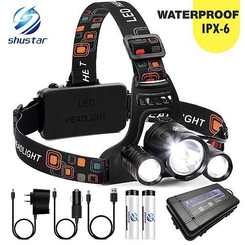 Super bright LED headlamp 3xT6 led headlight Waterproof fishing lamp 4 lighting modes camping lamp use 18650 battery