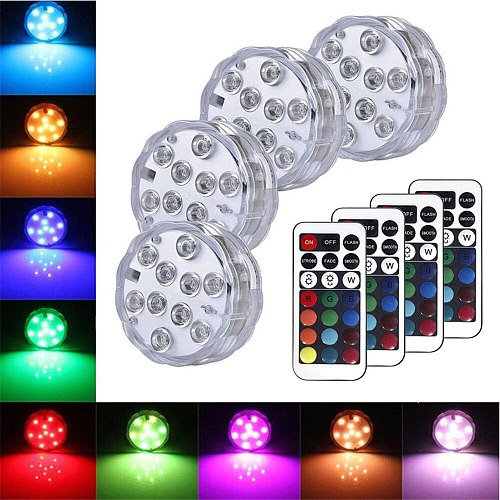 Battery Operated Submersible LED Lights Underwater Light Waterproof Remote Control Wireless 10LED RGB Tub Swimming Pool Vase Lam