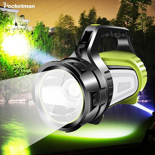 Most Powerful Rechargeable Searchlight LED Flashlight Handle Spotlight Ultra-long Standby Torch POCKETMAN LED Bulbs T6 Green 10W