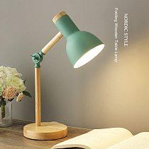LED Folding Study Desk Lamp Nordic Wood Art Iron Eye Protection Reading Table Lamp For Living Room Bed Side Night Reading Light