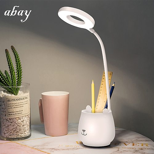 Table Lamp Creative Flexo Light Pen Container with Battery Rechargeable for Study in Loft Bedroom