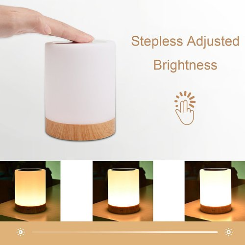Dimmable Led Colorful Creative Wood Grain Charging Night Light Bedside Table Lamp Ambient Light Touch Light