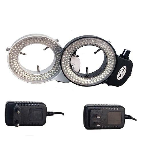 Black /White Color Adjustable144 LED Ring Light Lamp For Trinocular /Binocular Stereo Microscope Video Digital Camera Magnifier