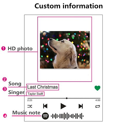 2021 Hot Deal Customized 3D Colorful Photo Night Light Spotify Note Desk Lamp Decor Valentine's Day Lover Gift Stepless Dimming