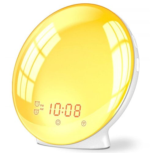 Nature Wake Up Light Digital Alarm Clock Snooze Night Lamp Sunrise Simulation & Sleep Aid Colorful Light With FM Radio
