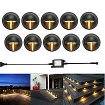 10PCS/lot Black 35mm Half Moon LED Outdoor Garden Yard Fence Stair LED Deck Rail Step Lights Lamps Low Voltage String Light