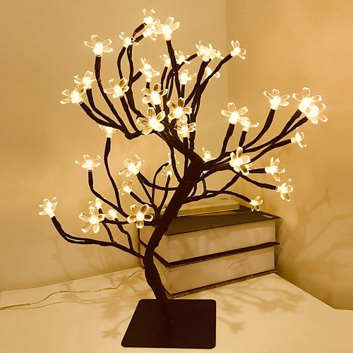 LED Decor Desk Lamp Cherry Blossom Tree Night Lights Nordic Crystal Flower Table Light for Bedroom Bedside Decorative Table Lamp
