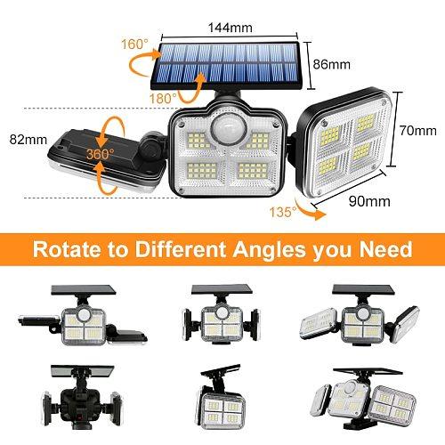 122 LED Solar Lights Outdoor 3 Head Motion Sensor 270 Wide Angle Illumination Super Bright Waterproof Remote Control Wall Lamp