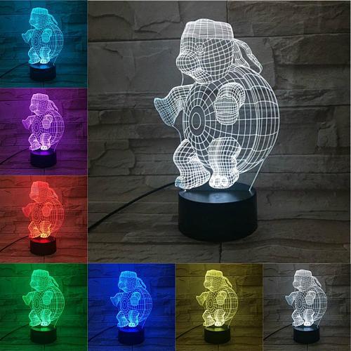 Tortoise 3D LED USB Illusion Lamp Boys Baby Creative Table Sleeping Light Cartoon Figure Home Decor Support USB And Color Change