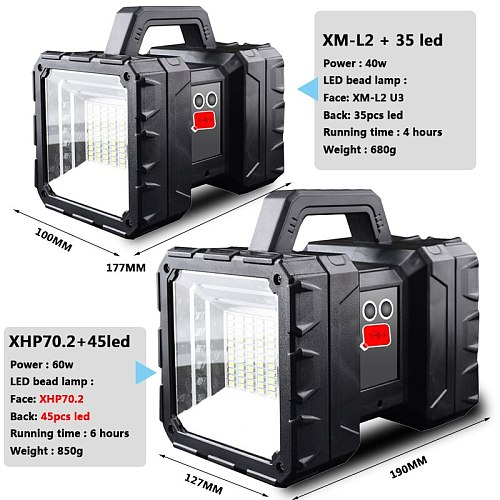 XHP70.2 Super Bright LED Waterproof Rechargeable Double Head Searchlight Handheld Flashlight Work Light Spotlight Floodling 60W
