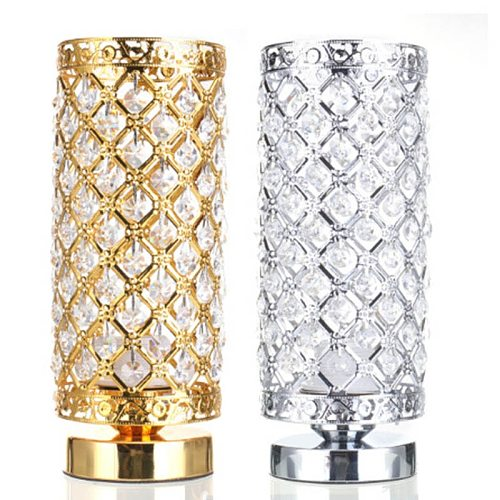 Gold Silver Crystal Bedside Lamps Art Deco Classic Vintage Retro Table Lamp For Living Room Luxurious European Style Foyer Loft