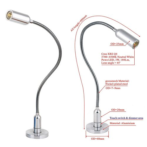 retail sale Best Quality Cree LED bed desk lamp 3W 180LM Can fixing and use on the bed headboard touch switch table light NEW!