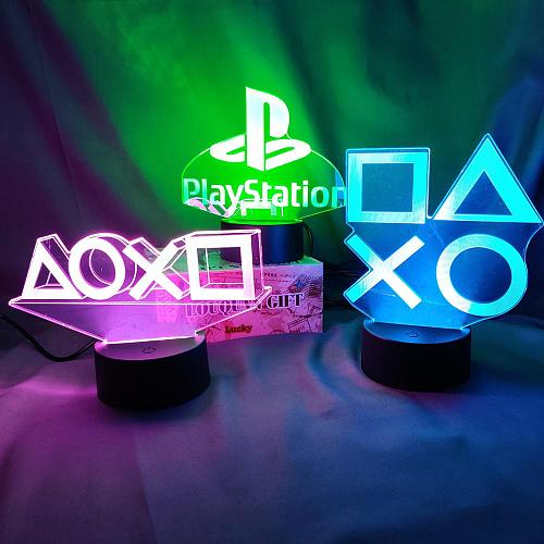Gaming Room Desk Setup Lighting Decor 3D Visual LED Night Lamp on the table Game Console Controller PS Icons Light Gift for Kids