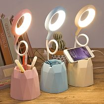 LED Night Light Portable Touch Bedside Lamp USB Chargable Dimmable Color Change Table Light Mobile Phone Pen Holder Light