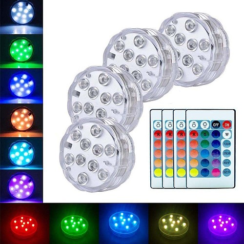 5050 RGB Submersible Lights Battery Powered Underwater Night Light Outdoor Vase Bowl Garden Pond Swimming Pool Party Decor Lamp
