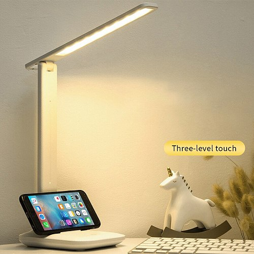 LED Desk Lamp Foldable Three-speed Touch Dimming Table Lamp USB Rechargeable DC5V Beside Reading Night Light Lamp Eye Protection