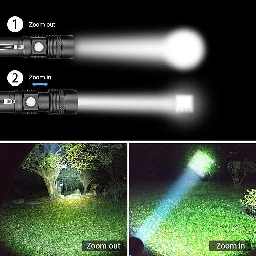 Rechargeable flashlight super bright 12000 lumens V6 waterproof LED tactical flashlight with clip 4 mode walking emergency 2 pcs