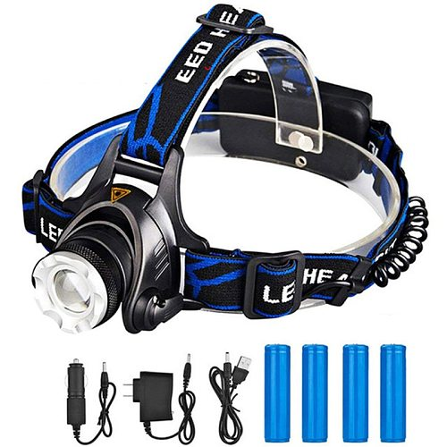 ZK20 Rechargeable Waterproof Flashlight Zoomable 3 Modes LED Head Lamp Work LED Helmet Flash Light Torch Flashlight