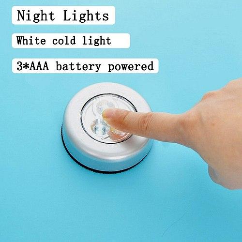 Mini Touch Night Lights Battery Powered Wall Lamps Wardrobe Lamp Car Ceiling Night Self-adhesive Wireless Energy Saving Lamp