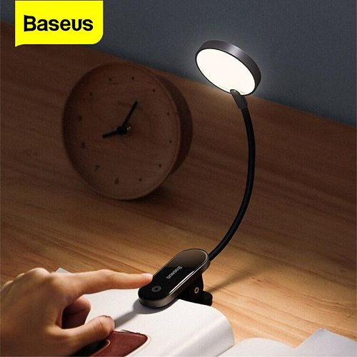Baseus LED Table Lamp Flexible Clip Eye Protect Reading Lamp Dimmable Bedside Lamp Rechargeable Bedroom Night Lights Home Office