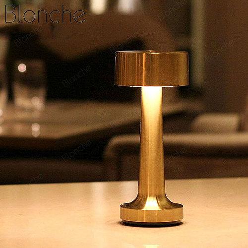 Vintage Bar Table Lamps Portable Battery LED Night Lights Chargeable Desk Light Fixtures Bedroom Bedside Lamp Restaurant Decor