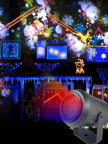16 Patterns New Year LED Laser Projector Light Christmas Snowflake Elk Projection Lamp Disco Stage Light For Party KTV Bars