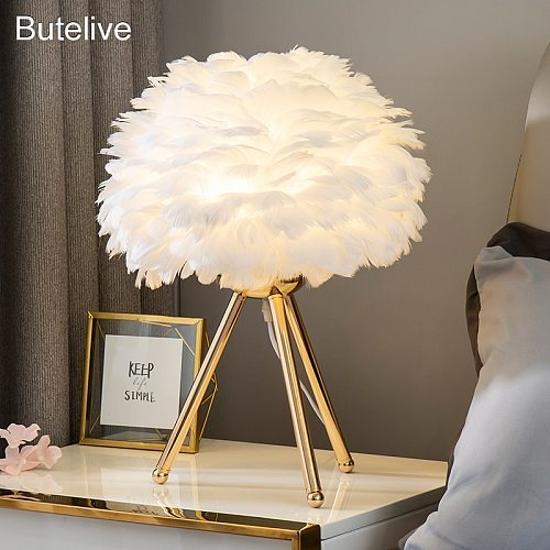 Goose Feather Led Table Lamps Modern Bedside Lamp for Living Room Bedroom Wedding Christmas Decoration Romantic Feather Lamp E27