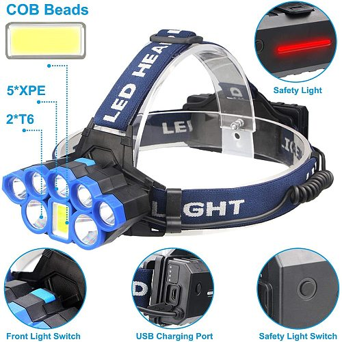Brightest Headlamp 6Modes Headlight With Red Strobe Lights USB Rechargeable Waterproof Head Flashlight for Cycling Hunt