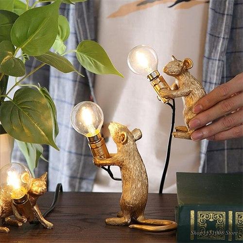 Nordic Resin Animal Rat Mouse Table Lamp Small Mini Mouse Cute LED Home Decor Desk Light Fixtures Luminaire craft lamp series