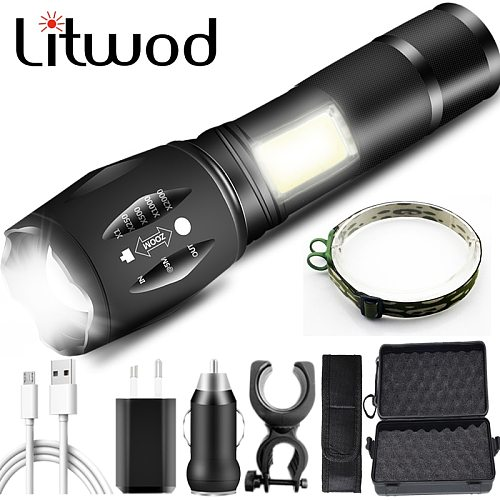 Litwod 103C USB Rechargeable Led Flashlight XM-L T6 & COB Waterproof Aluminum Torch Zoomable for Camping 18650 Battery Lantern