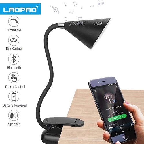 LAOPAO LED Flexible Clip Desk Lamp with Bluetooth Speaker Portable touch switch for reading stepless dimming brightness light