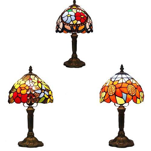 Tiffany Table Lamp Color Glass Lamp Shade Resin Base Retro Mediterranean Style Table Lamp Bedroom Dining Room Art Desk Light