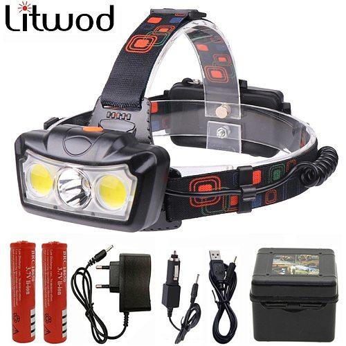 Super Bright LED Headlamp T6+2COB LED Headlight Head Lamp waterproof Torch Lanterna head light Use 2*18650 battery for Camping
