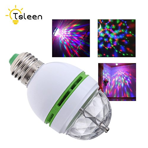 E27 3W Colorful Auto Rotating RGB LED Bulb Stage Light Party Lamp Disco for home decoration lighting lamps 85-260V