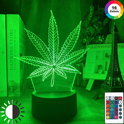 Acrylic Led Night Light Weed Usb Battery Powered Table Lamp Color Changing Touch Sensor Home Decor Light Kids Bedroom Nightlight