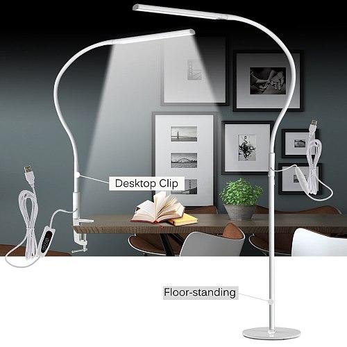 10W LED Clip Long Arm Desk Light Flexible Eye-protected Lamp For Bedroom Led Light 3-Level Brightness&3 Color