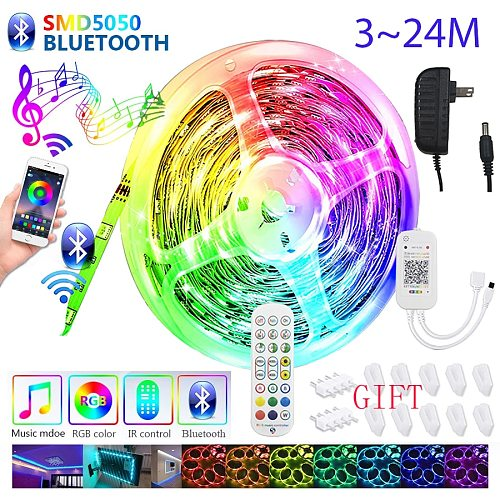 LED Strip Lights 24m RGB Color Changing SMD 5050 Voice Music Smart For Room Party Remote Bluetooth APP Controll  18m 12m 6m 3m