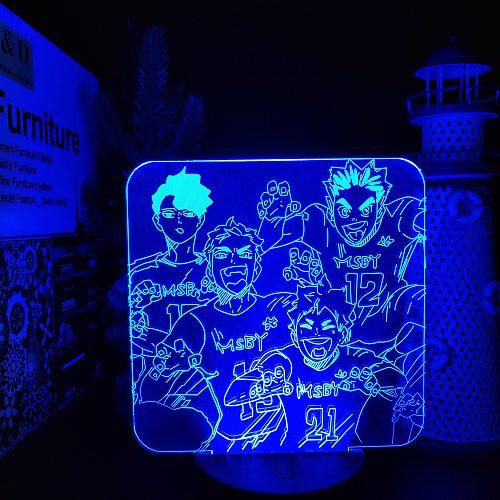 HAIKYUU MSBY TEAM Hinata Miya Sakusa Bokuto Led ANIME LAMP Nightlights lamparaColor Changing For Bedroom Decoration